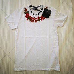 DOLCE&GABBANA MEN CASUAL ROSE PRINTED T-SHIRT NWT